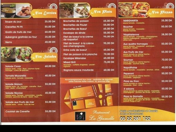 Restaurant Le Sultan Menu